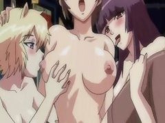 Horny hentai girls get involved in public wild groupsex orgy