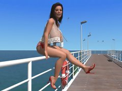 Big breasted 3D brunette chick exposing her melons on the pier