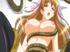 Busty hentai captive girl sexually abused by snake like creatures
