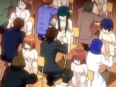 Group of anime guys exploring female titties