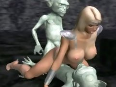 Tasty 3D hentai blonde babe mouth fucked and sandwiched by trolls