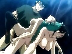Kinky anime with two chicks pleasing hard pecker