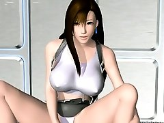 Sexy 3D hentai babe licking and rubbing cock between her knockers
